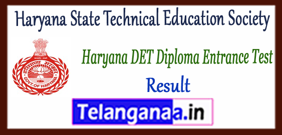 Haryana DET Diploma Entrance Test Result Counselling 2018