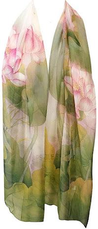 Green Floral Print Chiffon Scarves
