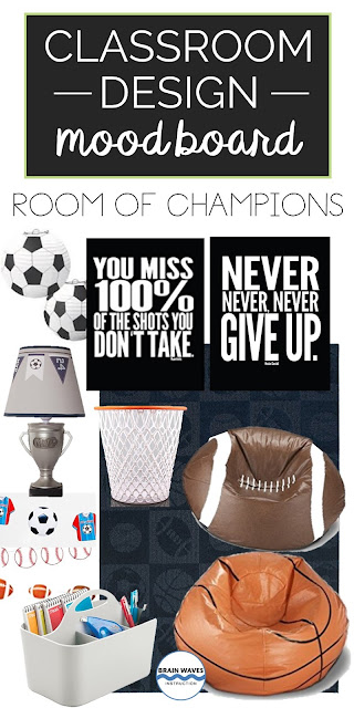 Classroom decor with a sports theme