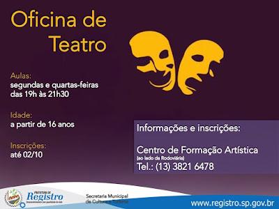 Cultura de Registro-SP recebe inscrições para Oficina de Teatro