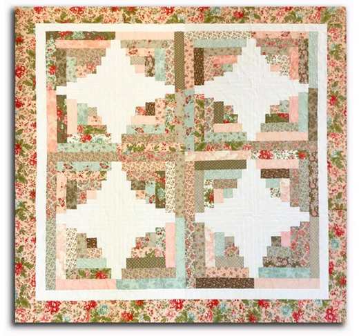 Curvy Jelly Roll Log Cabin Quilt designed by Donna Jordan for Jordan Fabrics