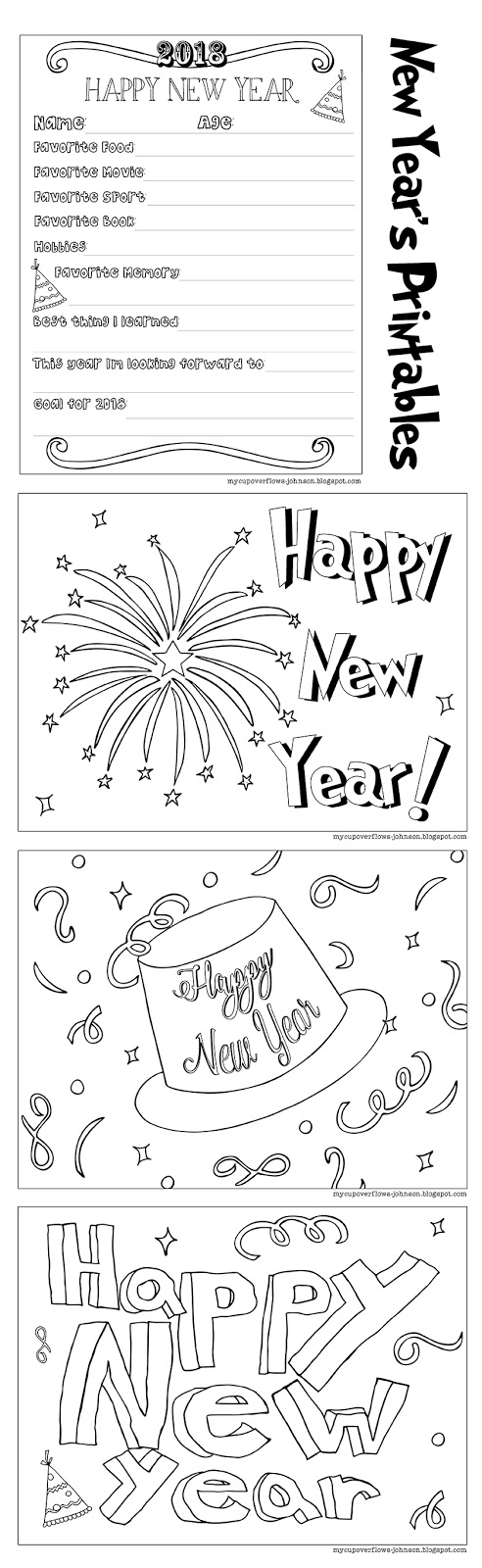 Free Happy New Year Coloring Pages