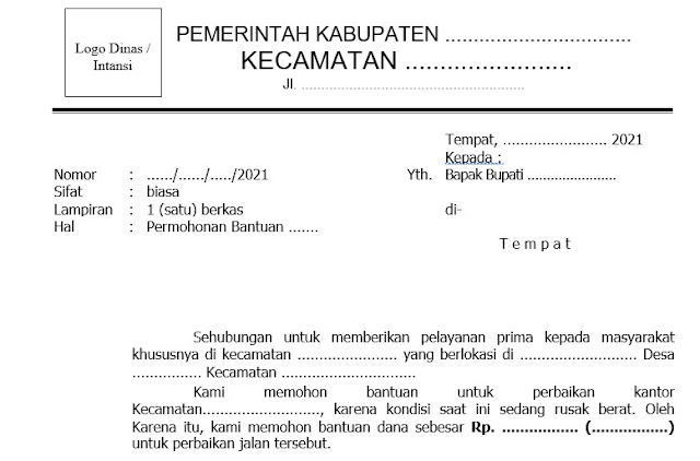 Contoh Surat Untuk Bupati dari Kecamatan