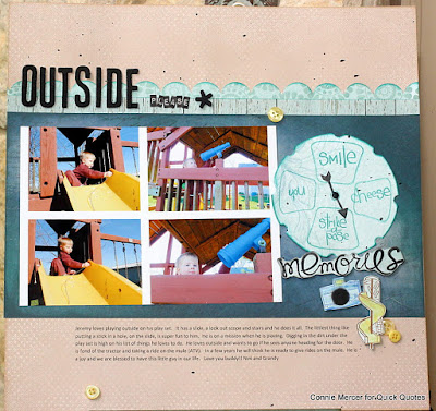 Scrapbook Page featuring printed journal notes using the Canon iP8720 Printer with Connie Mercer for Quick Quotes