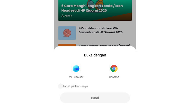 Pilih default browser di HP Xiaomi