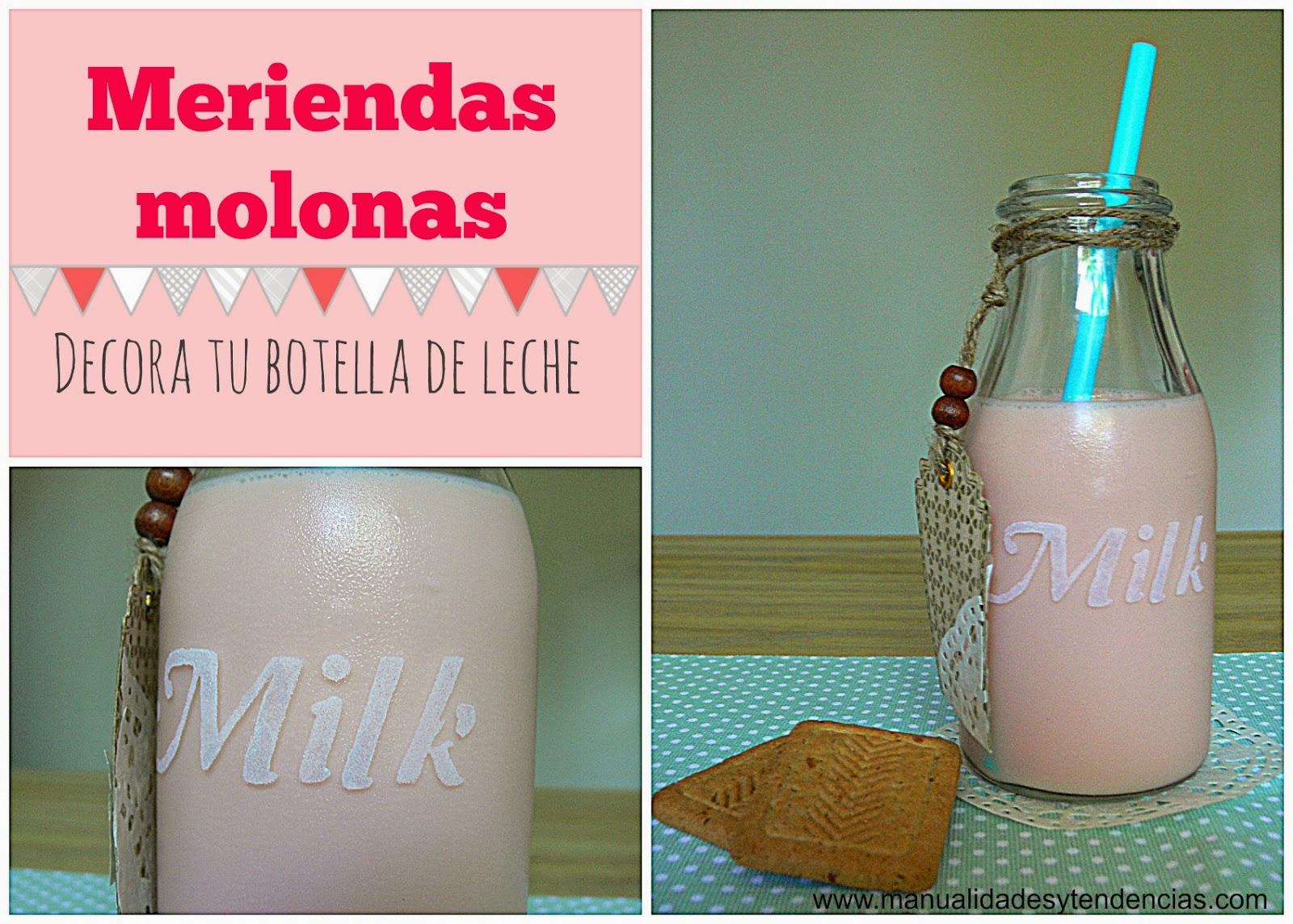 Botella de leche decorada