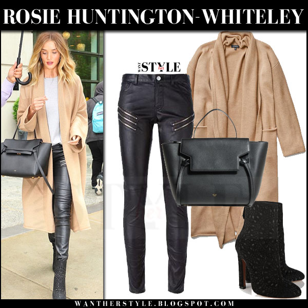 Rosie Huntington-Whiteley in camel aritzia cardigan, black leather saint laurent pants and black alaia ankle boots what she wore models off duty