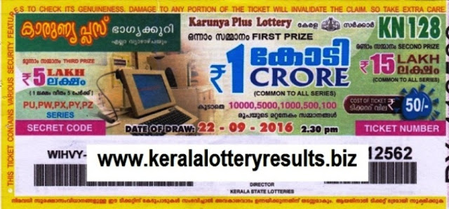 Kerala lottery result official copy of Karunya Plus_KN-129
