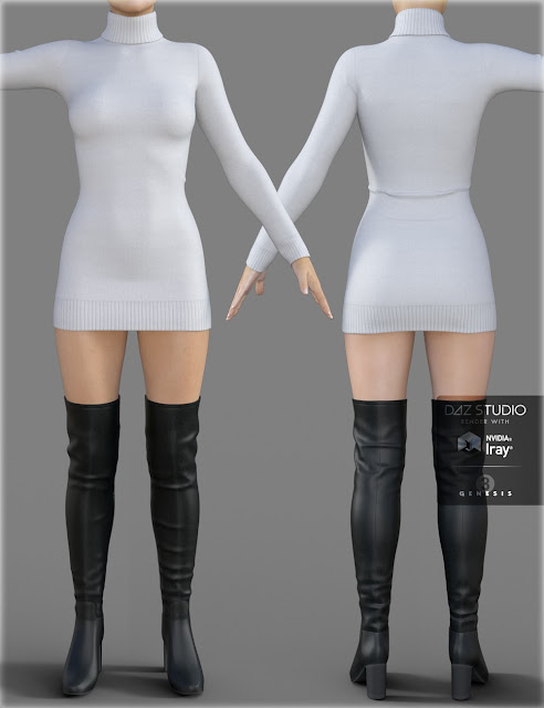 Sweater Dress for Genesis 3 Female