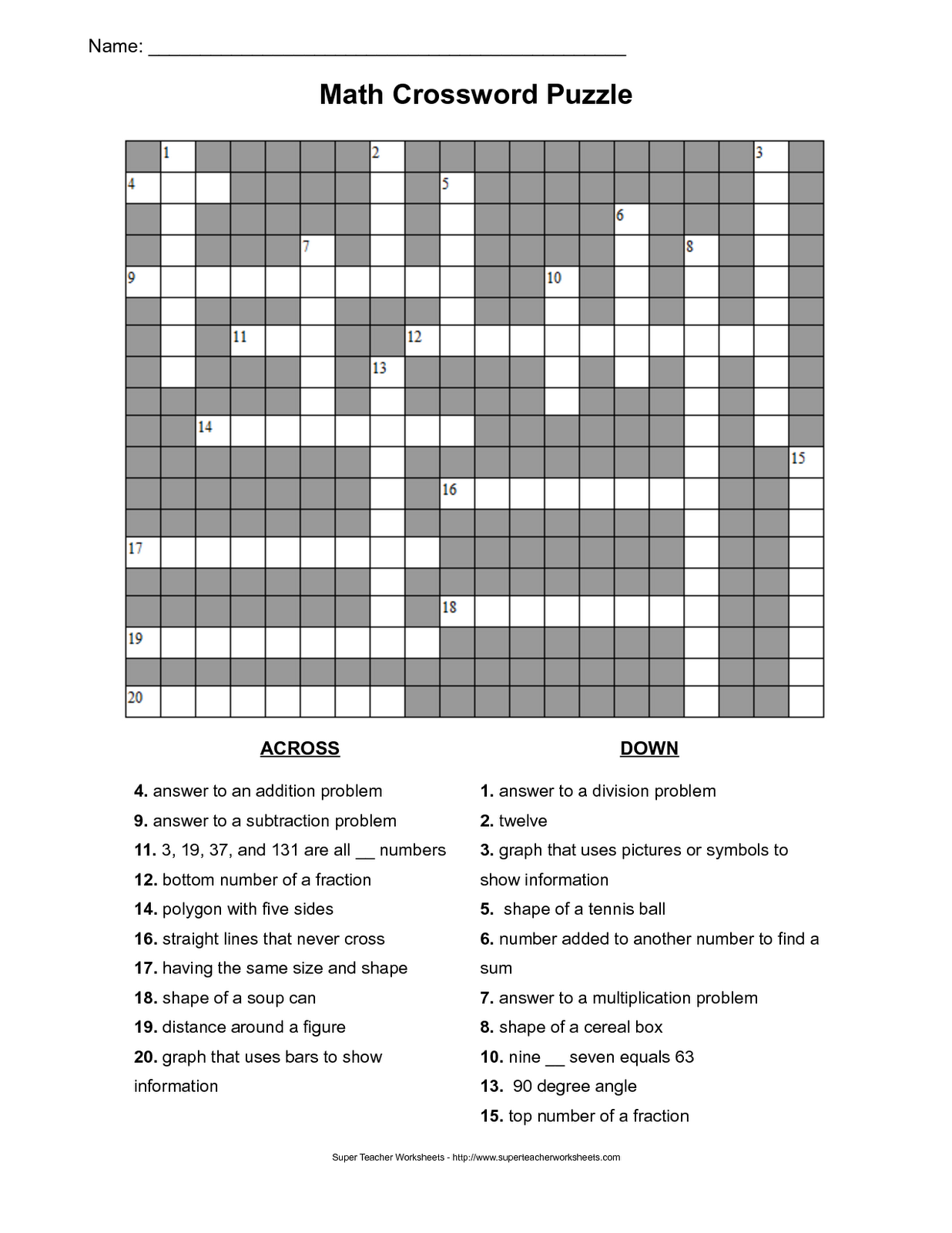 World Of Knowledge Math Crossword Puzzle