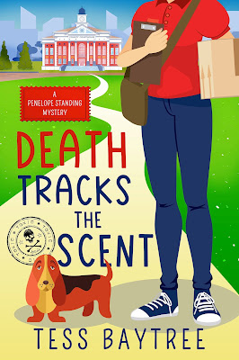 Book cover showing a cartoon woman and hound. Title: Death Tracks the Scent by Tess Baytree