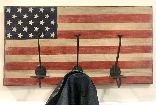 American flag with hooks