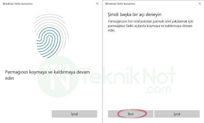 Windows Hello Parmak izi Kilidi Ayarlama