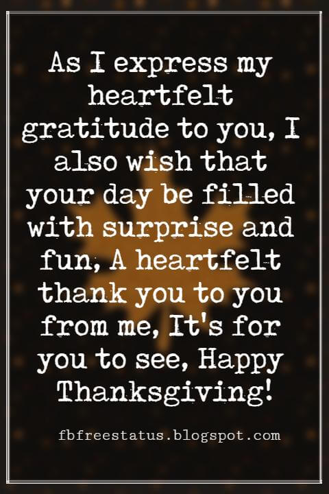 Wishes For Thanksgiving, As I express my heartfelt gratitude to you, I also wish that your day be filled with surprise and fun, A heartfelt thank you to you from me, It's for you to see, Happy Thanksgiving!