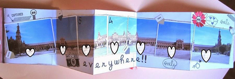 foto 1 decoración de scrapbookinkg del LOVE mini-álbum desplegable en zig-zag con fotos de panorámica de la Plaza de España de Sevilla