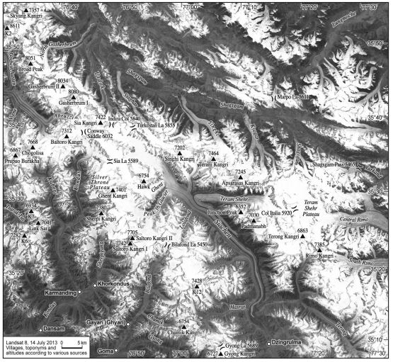 Satellite image with toponyms, altitudes and villages of area surrounding Siachen glacier.