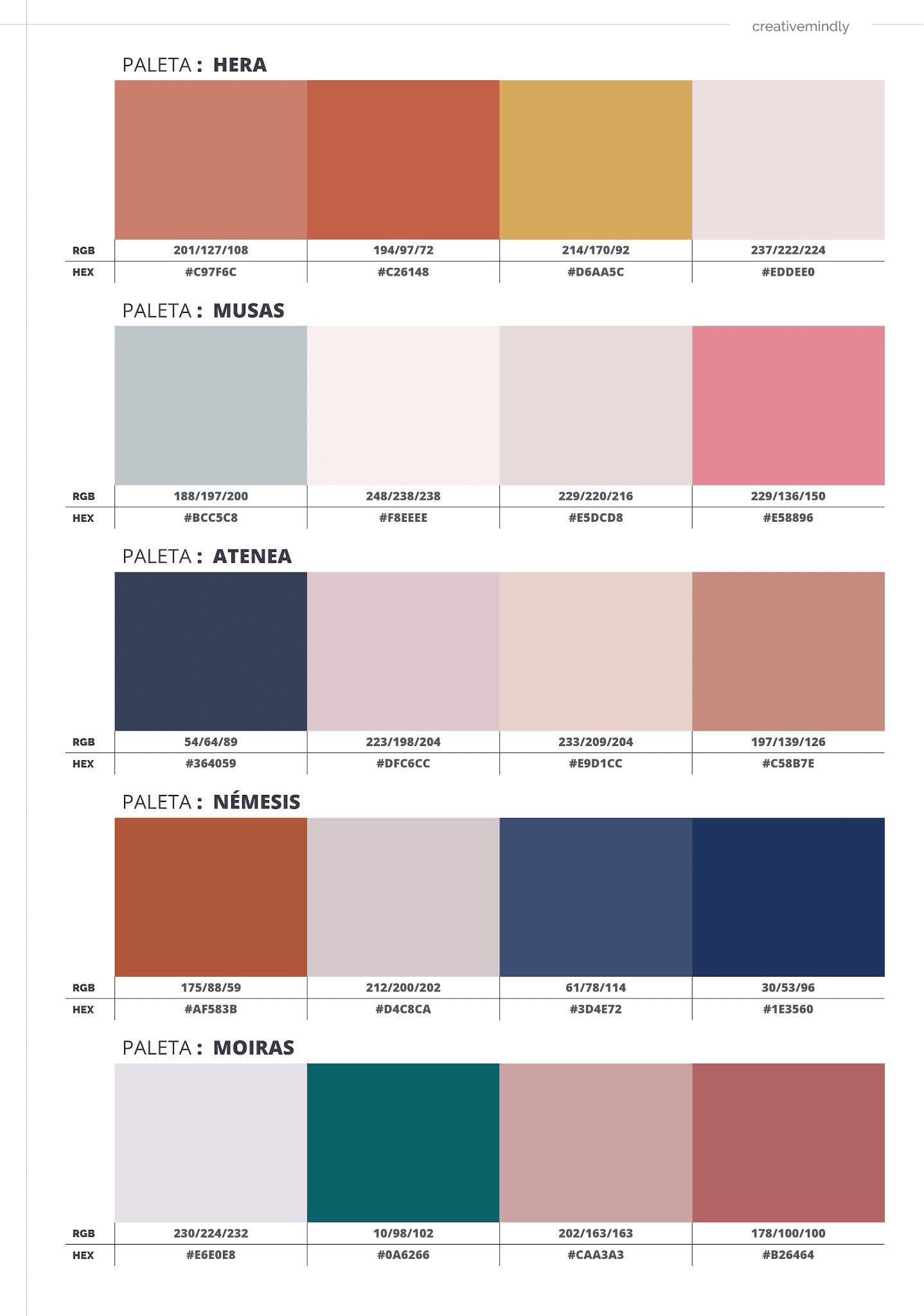 paletas de colores bonitas
