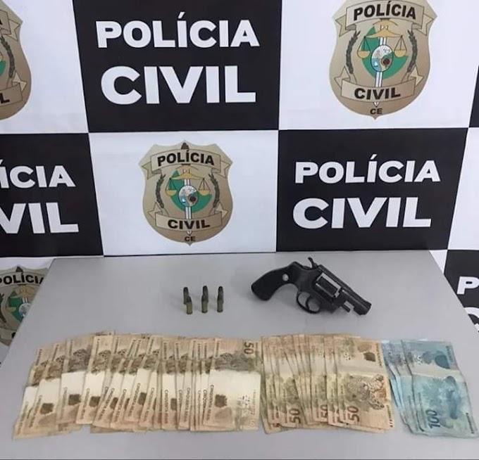 VIGILANTE PRESO PELA POLÍCIA CIVIL DE CRATEÚS COM ARMA DE FOGO E DINHEIRO