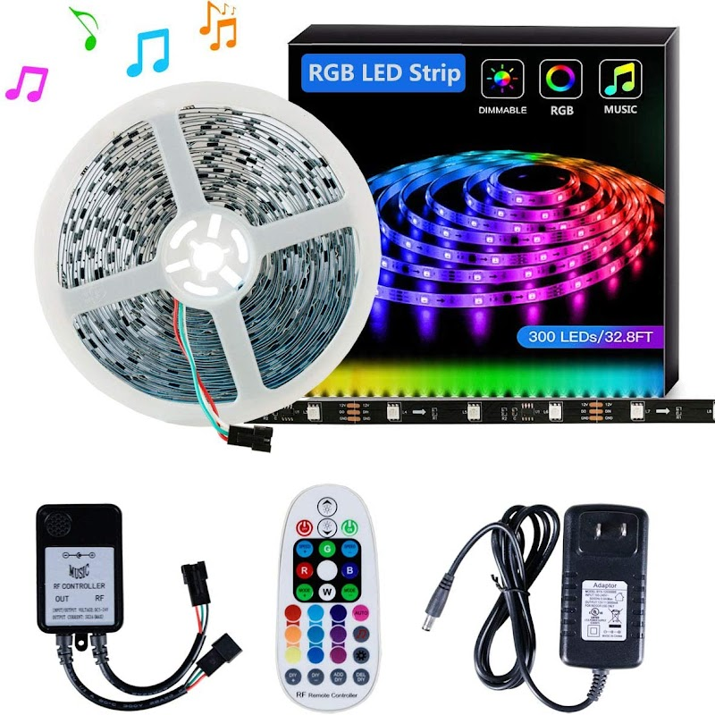 40% OFF LED Strip Light SELIAN 5050 32.8ft/10m LED Lighting Strips Sync to Music RGB Flexible Rope Light with 12V Power Supply Non-Waterproof 300LED Strip Lighting for Home Indoor Decoration