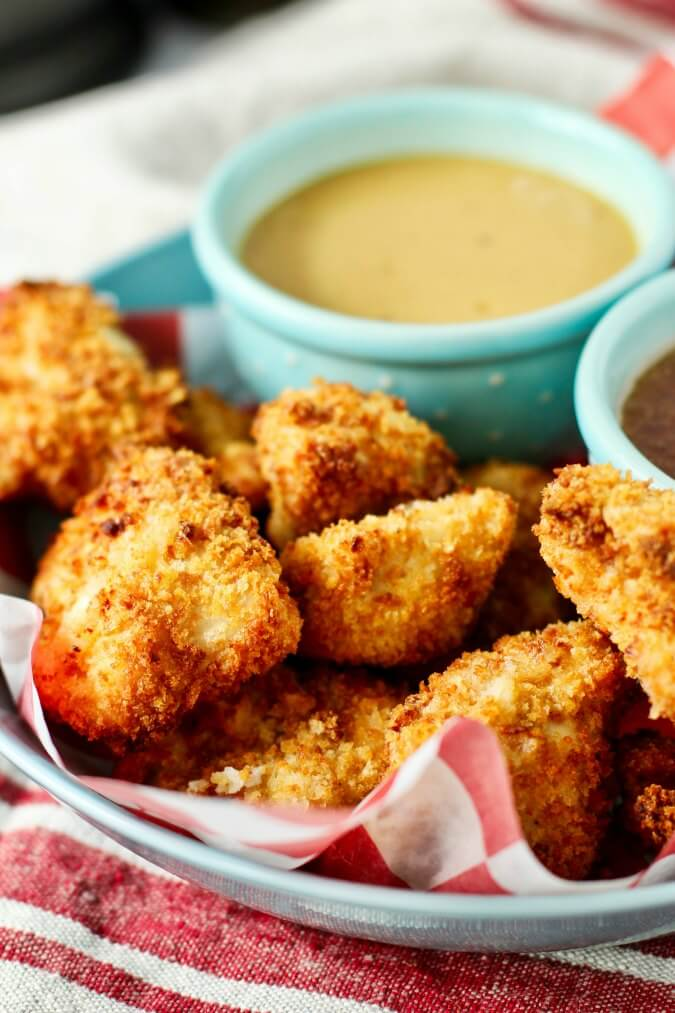 Air Fryer Chicken Nuggets on a plate