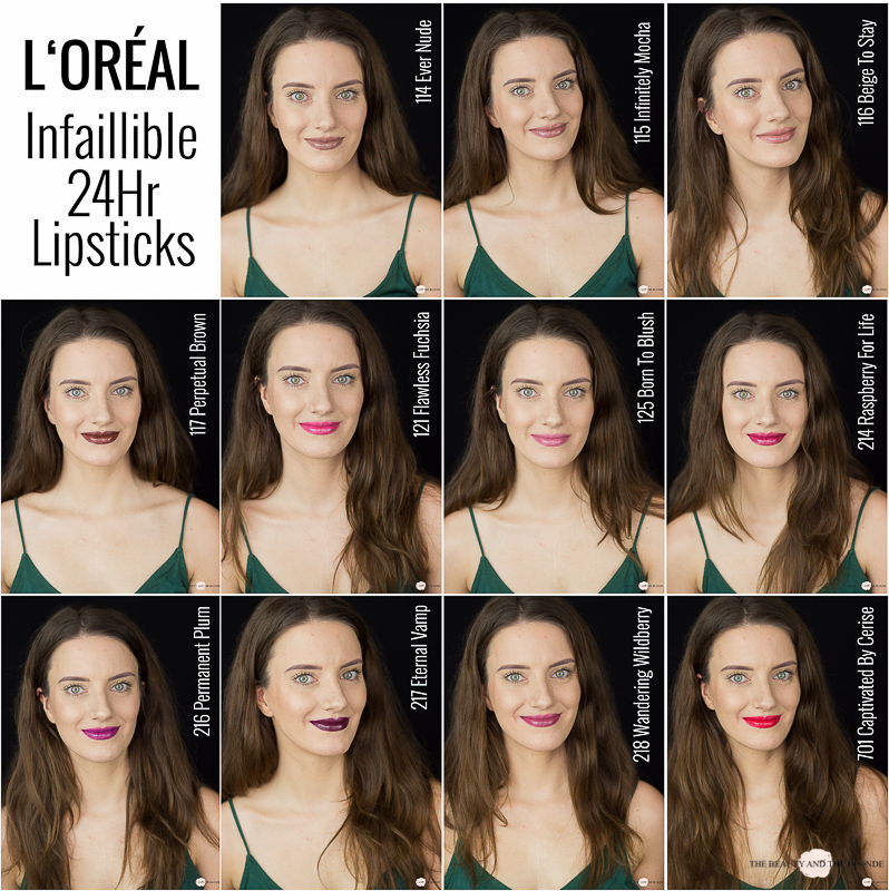 L'Oréal Infaillible 24 Hr Lipsticks Swatches Drogerie Review