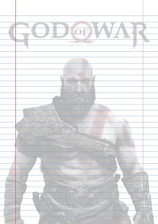 Folha Papel Pautado do Kratos God of War em PDF para imprimir na folha A4