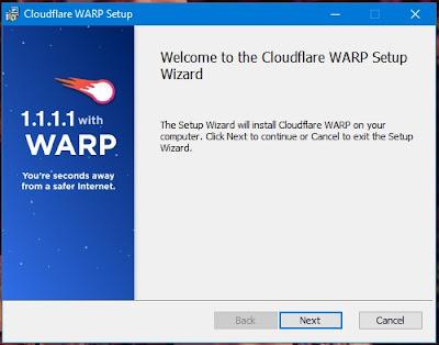 Tampilan instalasi 1.1.1.1 with WARP