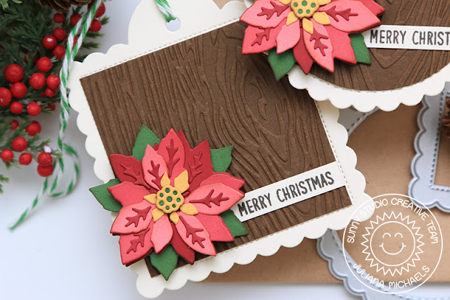 Clean Layered Poinsettia Christmas Tag featuring Sunny Studio Stamps Layered Poinsettia Die, Wood Grain Embossing Folder and Scalloped Tags