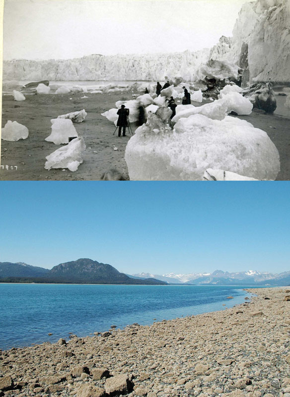 You Still Think Climate Change Is A Hoax These 20 Before-And-After Photos Will Leave You Speechless! - 1880S AND 2005 ALASKAN MUIR GLACIER AND INLET