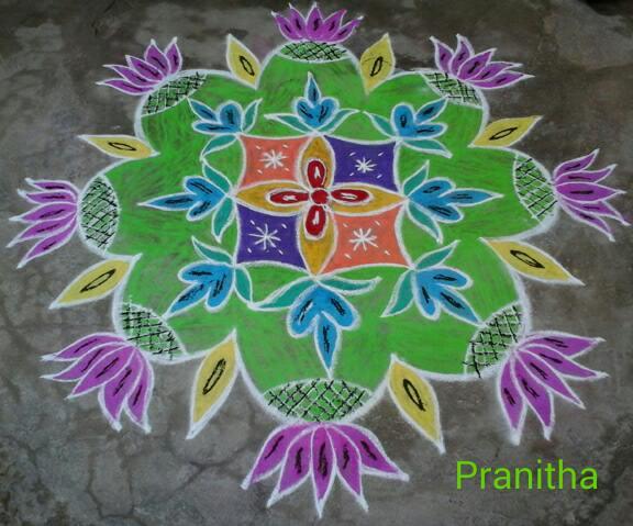 Chodavaramnet Lotus Flowers And Lamps Indian Rangoli Patterns
