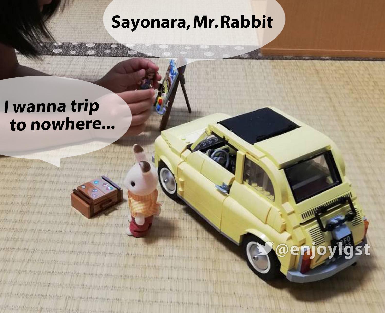 レゴ(LEGO)で英語!フィアット500で旅に出るウサギと女子:レゴで遊びながら英語を学ぶシリーズ