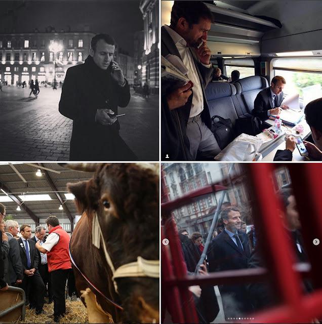 zdjęcia prezydenta Manuela Macrona z Instagrama