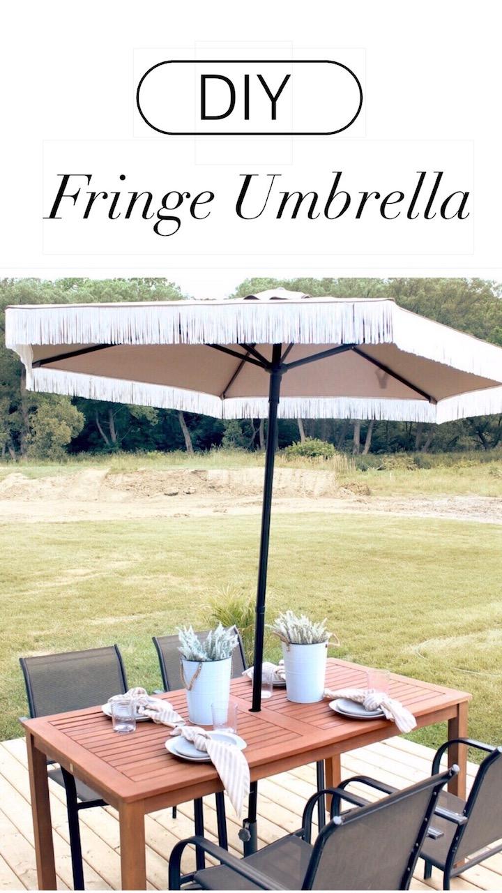 DIY Fringe Patio Umbrella