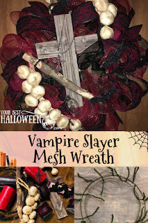 vampire slayer mesh wreath, halloween diy decor wreath