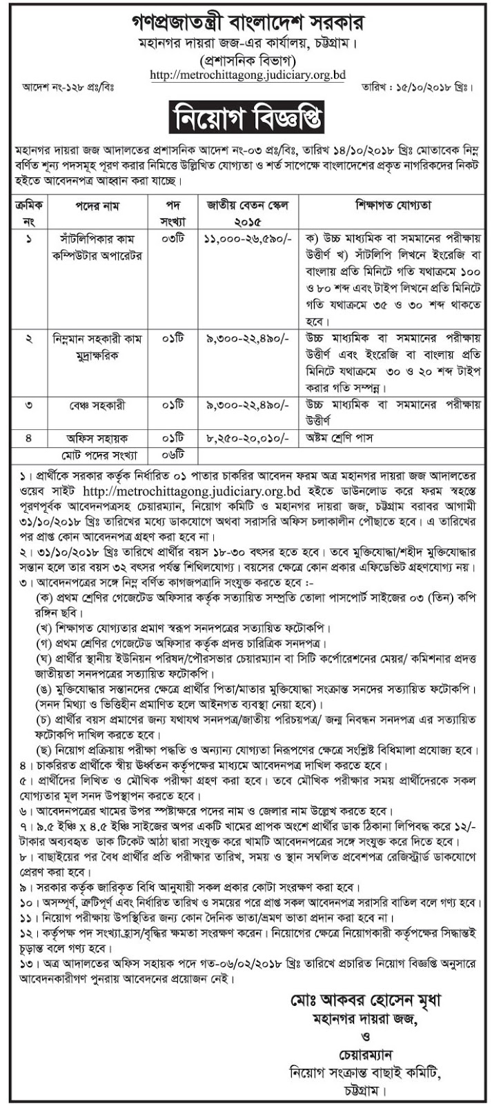 Metropolitan Court, Chittagong Job Circular 2018