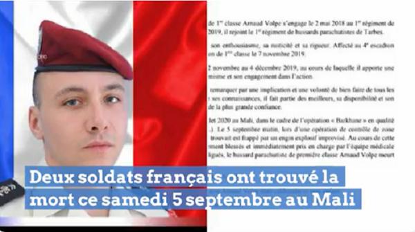 Mali : Deux soldats français tués par une bombe artisanale