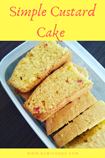 Custard cake is a very  tasty cake.  This light yellowish colour cake is very simple to bake. I have prepared it in a very simple way using simple ingredients as I'm not very expert in baking. So anyone who is a beginner cook and wants to know how to bake a cake, this recipe is for them.