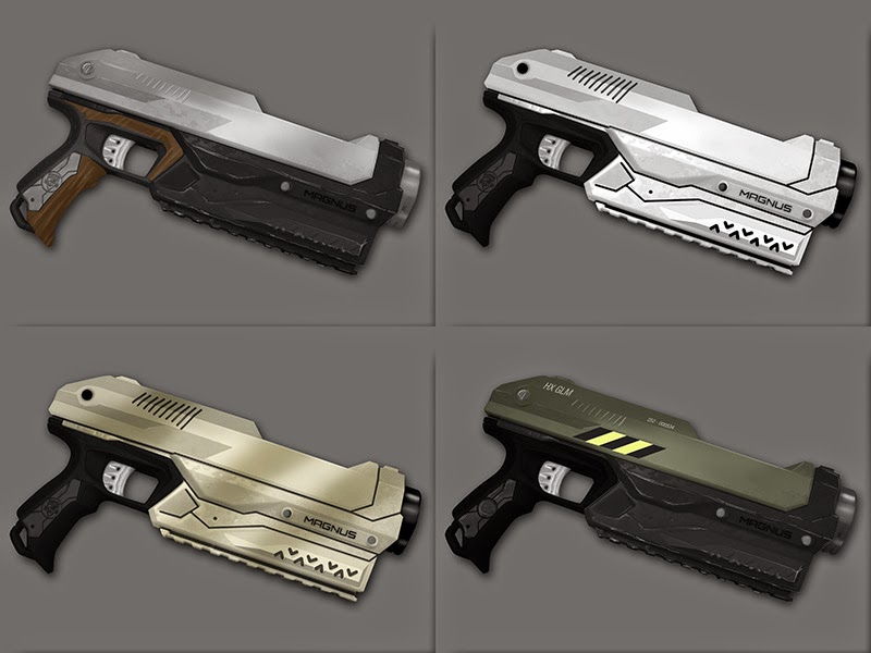 Four designs I used to visualise the finished gun.