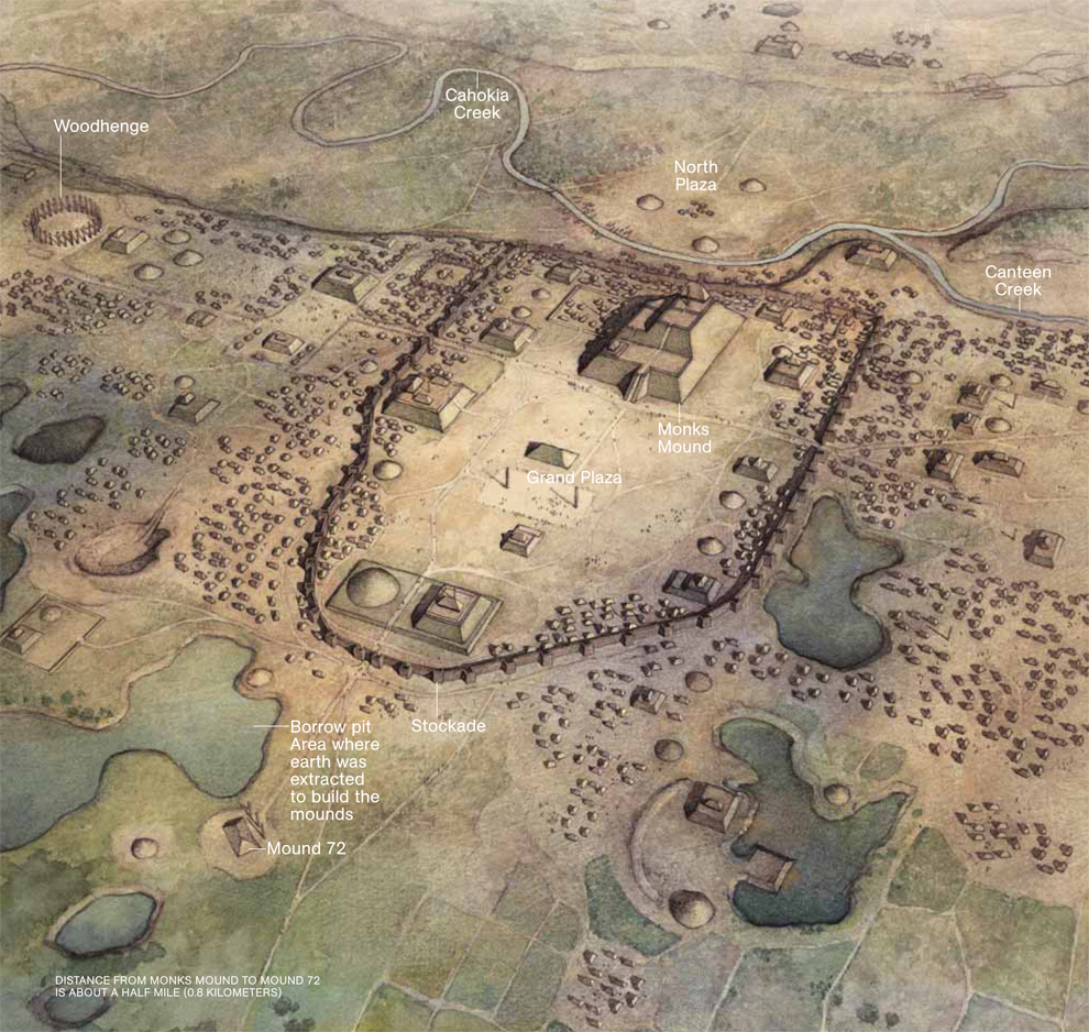 An artist's interpretation of downtown Cahokia in the late Sterling period