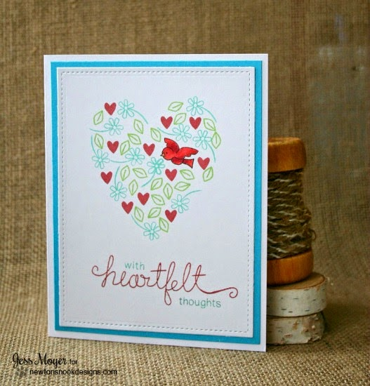 Heartfelt Valentine card by Jess Moyer | Stamps by Newton's Nook Designs