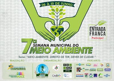 7ª Semana Municipal do Maio Ambiente, dia 06 a 10 de junho