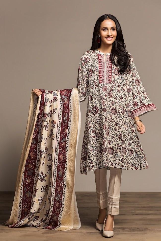 Nishatlinen Offwhite & Maroon Shirt And Print Dupatta