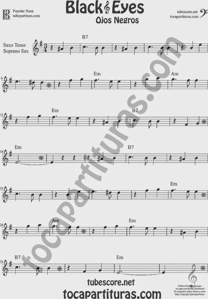 Ojos Negros Partitura de Saxofón Soprano y Saxo Tenor Sheet Music for Soprano Sax and Tenor Saxophone Music Scores Black Eyes Popular Rusa