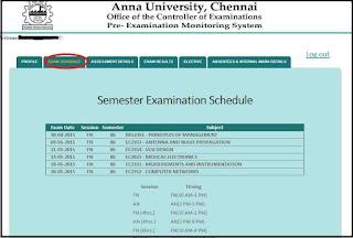 AnnaUniversity coe1.annauniv.edu login Portal Exam Schedule Tab