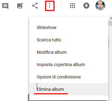 Cancellare album google foto