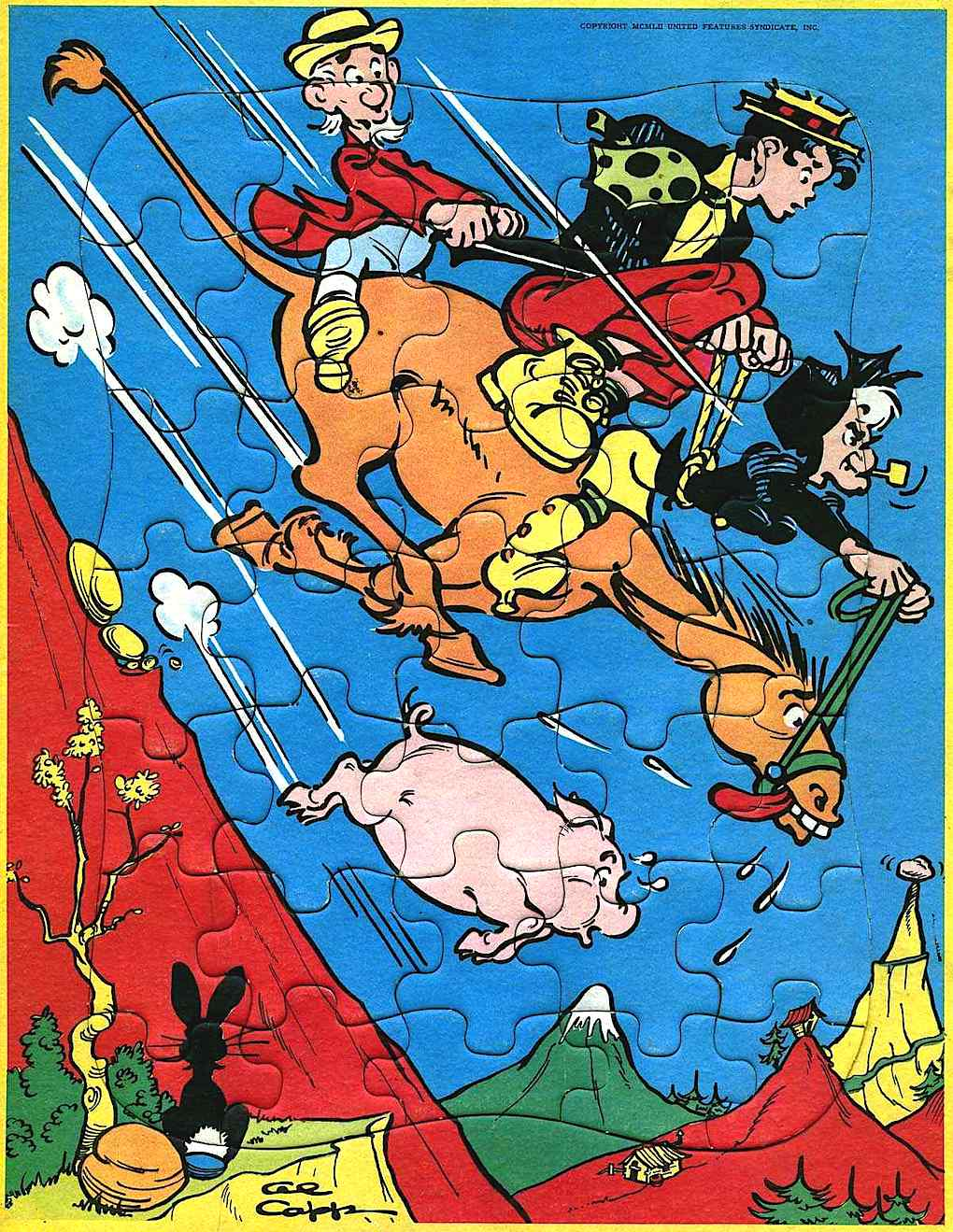 an Al Capp Little Abner color puzzel with Mammy Yokum, hillbillies on horseback galloping down a mountain
