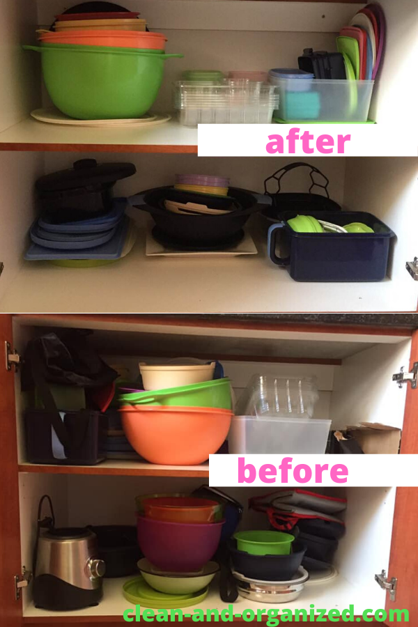 My humble attempt at organizing my Tupperware cabinet.