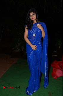 Actress Alekhya Pictures in Blue Saree at Happy Birthday Audio Launch  0098