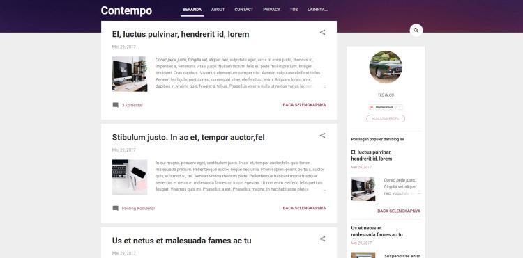 Contempo V2 Blogger Template, download free blogspot theme 2018