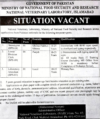 Ministry Of National Food  Security and Research, Latest job 2021